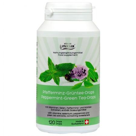 Зелен Чай с Мента, Селен и натурален витамин Е в таблетки за смучене — Vivasan