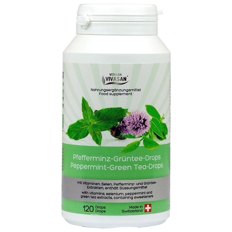 Зелен Чай с Мента, Селен и натурален витамин Е в таблетки за смучене